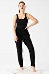 Kadın Siyah Cepli Viskon Şalvar Pantolon