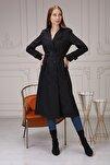 Kadın Yazlık Uzun Siyah Düğmeli Trençkot -içi Kazayağı Desenli