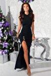 Siyah Esnek Dalgıç Kumaş Düğme Detaylı Uzun Abiye Elbise Mezuniyet Elbisesi 165