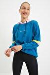 Mavi Nakışlı Basic Kapüşonlu Spor Sweatshirt TWOAW21SW0665