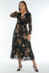 Çiçek Desen Kruvaze Yaka Büyük Beden Şifon Elbise