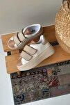 Kadın Beyaz Bej Cırt Cırtlı Sneaker Spor Ayakkabı-Taban 5cm-Yürüyüş Ayakkabısı Yüksek Tabanlı Bantlı
