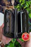 Orleans Vintage Deri Yeşil Telefon Bölmeli El Çantası Cüzdan Kartlık