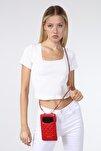 Hakiki Deri Kadın Kırmızı Capitone Desen Kartlıklı Çapraz Telefon Çantası
