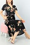 Kadın Kruvaze Yaka Krep Kumaş Kısa Kol Gül Baskılı Siyah Elbise 120cm