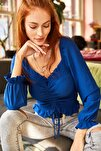 Kadın Saks Mavi Önü Büzgülü Gipeli Örme Bluz BLZ-19001183