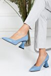 , Özel Üretim, Tarz Topuk, Mavi Kırışık Rugan Lüks Stiletto, Kadın