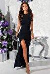Siyah Esnek Dalgıç Kumaş Düğme Detaylı Uzun Abiye Elbise Mezuniyet Elbisesi 166