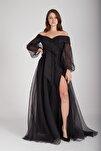 Siyah Kayık Yaka Yırtmaçlı Abiye & Mezuniyet Elbisesi 1301583