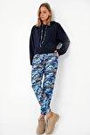 Kadın Mavi Kamuflaj Kapşonlu Crop Eşofman Takım ALC-X5080