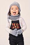 Çocuk Mavi Ekru Şapka Eldiven Boyunluk Seti