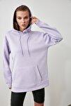 Lila Kanguru Cepli Kapüşonlu Boyfriend Örme Şardonlu Sweatshirt TWOAW20SW0525