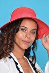 Kadın Kırmızı Hasır Şapka