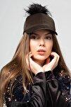 Kadın Haki Kadife Ponponlu Şapka