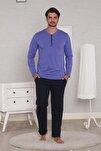 Erkek Indigo Uzun Kollu 4 Mevsim Pijama Takımı
