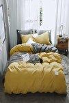 Nevresim Takımı Düz Sarı-gri Renk Çift Kişilik Nevresim Takımı