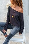 Kadın Siyah Kayık Yaka Salaş Ajurlu İnce Örme Bluz GK-BST2977