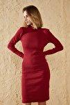 Kadın Kırmızı Dik Balıkçı Yaka Elbise