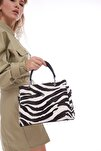 Zebra Desenli Kadın Kroko Deri Orta Bölmeli El Ve Omuz Çantası Fb3005
