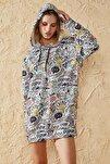 Kadın Şekerleme Desenli Oversize Baskılı Sweatshirt