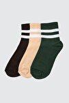 Vizon-Yeşil-Siyah 3'lü Paket Örme Çorap TWOAW20CO0054