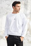 Erkek Beyaz Jordan Baskılı Sweatshirt