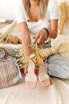 Kadın Hardal Nude Şeffaf Bantlı Şampanya Topuklu Sandalet