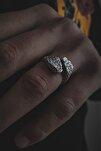 Erkek Çift Başlı Yılan Figürlü Ayarlanabilir Gümüş Kaplama Yüzük