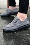 Erkek Keten Füme Siyah Sneaker Spor Ayakkabı Elita