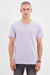 Lila Erkek Basic Slim Fit V Yaka Kısa Kollu T-Shirt TMNSS19BO0002