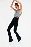 Lacivert Flare Örme Pantolon TWOSS20PL0342