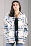 Kadın Mavi Over Size Oduncu Gömlek Mg042