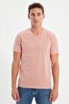 Pembe Erkek Basic Slim Fit V Yaka Kısa Kollu T-Shirt TMNSS19BO0002