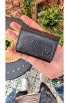 Visso 660 Siyah Renk Hakiki Deri Akordeon Deri Kredi Kartlık  Deri Cüzdan Çanta