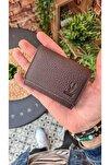 Visso 660 Mürdüm Kahve Hakiki Deri Akordeon Deri Kredi Kartlık  Deri Cüzdan Çanta
