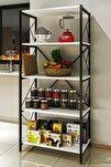 Metal Mutfak Rafı 5 Raflı Mutfak Düzenleyici Raf Mikrodalga Rafı Tencere Tabak Rafı Baharatlık Beyaz