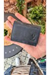 Visso 660 Lacivert Matrix Hakiki Deri Akordiyon Deri Kredi Kartlık  Deri Cüzdan Çanta