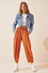 Kadın Açık Kiremit Cepli Keten Viskon Şalvar Pantolon CV00001