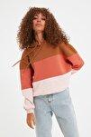 Gül Kurusu Renk Bloklu Kapuşonlu Basic Örme Sweatshirt TWOAW20SW0792