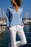 Kadın Mavi Polo Yaka Bluz GK-BSTM2749