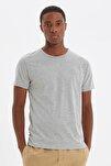 Gri Basıc Erkek Slim Fit Pamuklu Kısa Kollu Bisiklet Yaka T-Shirt TMNSS19BO0001