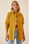Kadın Hardal Oversize Uzun Basic Gömlek  DD00842