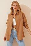Kadın Camel Oversize Uzun Basic Gömlek  DD00842