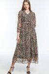 Leopar Büyük Beden Şifon Elbise