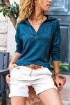 Kadın Lacivert Polo Yaka Yumuşak Dokulu Bluz GK-BSTM2749