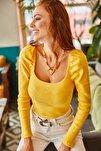 Kadın Sarı Kare Yaka Likralı Bluz BLZ-19001617