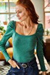 Kadın Yeşil Kare Yaka Likralı Bluz BLZ-19001617
