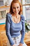 Kadın İndigo Kare Yaka Likralı Bluz BLZ-19001617