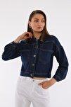 Kadın Lacivert Crop Denim Ceket