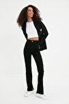 Siyah Yırtmaçlı Yüksek Bel Slim Flare Jeans TWOAW22JE0382